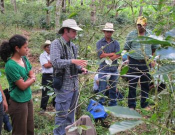 Photo shows researchers demonstrating telemetry to coffee producers in Honduras